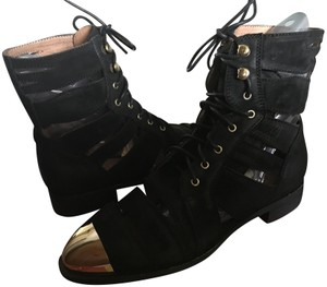 Jeffrey Campbell Free People Leather Toe Ankle Black/Gold Boots