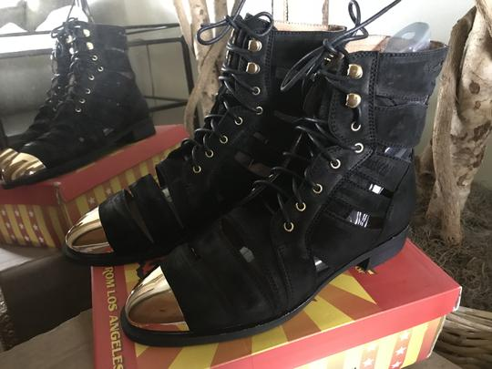 Jeffrey Campbell Free People Leather Toe Ankle Black/Gold Boots Image 2