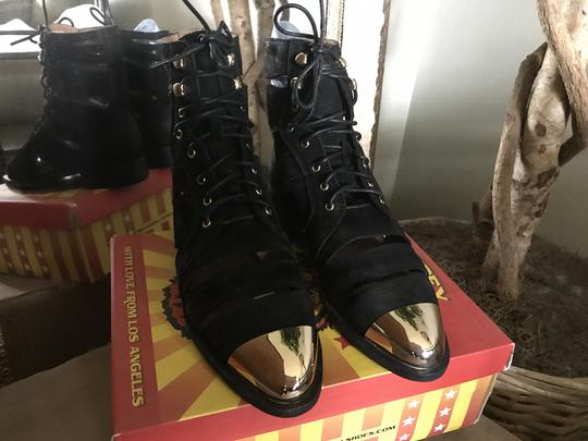 Jeffrey Campbell Free People Leather Toe Ankle Black/Gold Boots Image 3