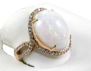Other Oval Fire Opal Solitaire Infinity Ring w/Diamond Halo 14k RG 10.05Ct