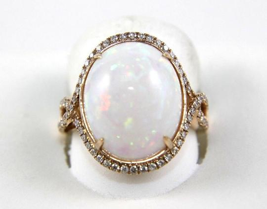 Other Oval Fire Opal Solitaire Infinity Ring w/Diamond Halo 14k RG 10.05Ct Image 1