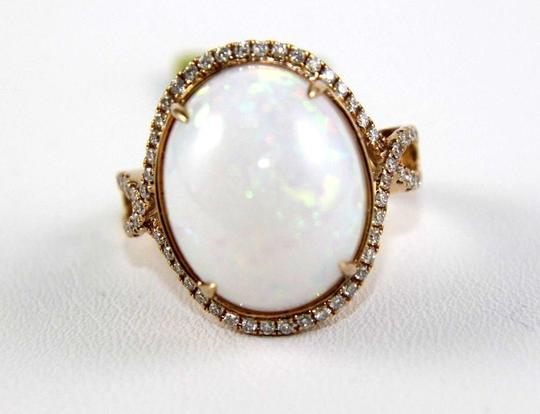 Other Oval Fire Opal Solitaire Infinity Ring w/Diamond Halo 14k RG 10.05Ct Image 4
