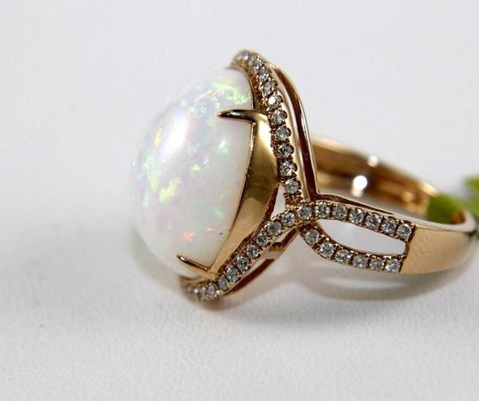 Other Oval Fire Opal Solitaire Infinity Ring w/Diamond Halo 14k RG 10.05Ct Image 5
