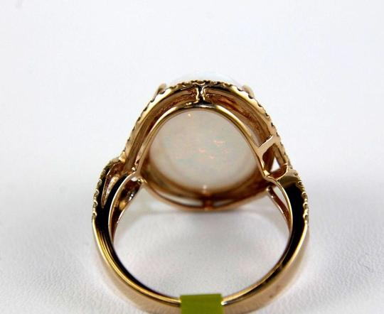 Other Oval Fire Opal Solitaire Infinity Ring w/Diamond Halo 14k RG 10.05Ct Image 6