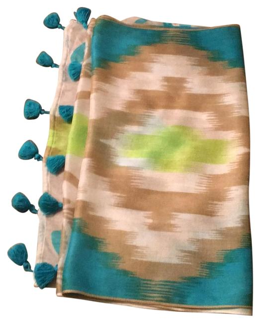 Item - Turquoise Lime Green Patterned Scarf/Wrap