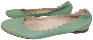 Chloé Scalloped Leather mint green Flats