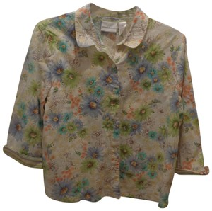Alfred Dunner Button Down Shirt white with flowers
