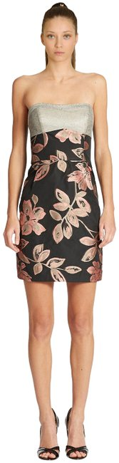 Item - Black Gray Floral Strapless Sweetheart Short Cocktail Dress Size 6 (S)