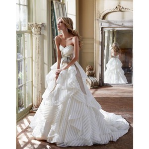 """Hayley Paige Ivory Polyester """"guindon"""" Strapless Stripe Gown Formal Wedding Dress Size 12 (L)"""