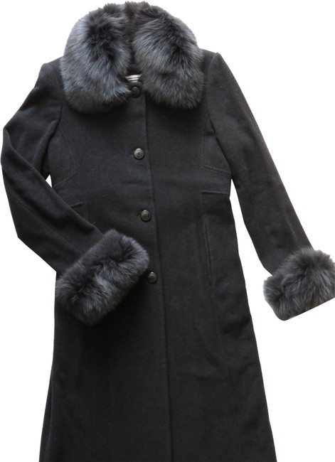 Item - Black Women's Winter Blue Fox Cashmere Wool Long Coat Size 6 (S)