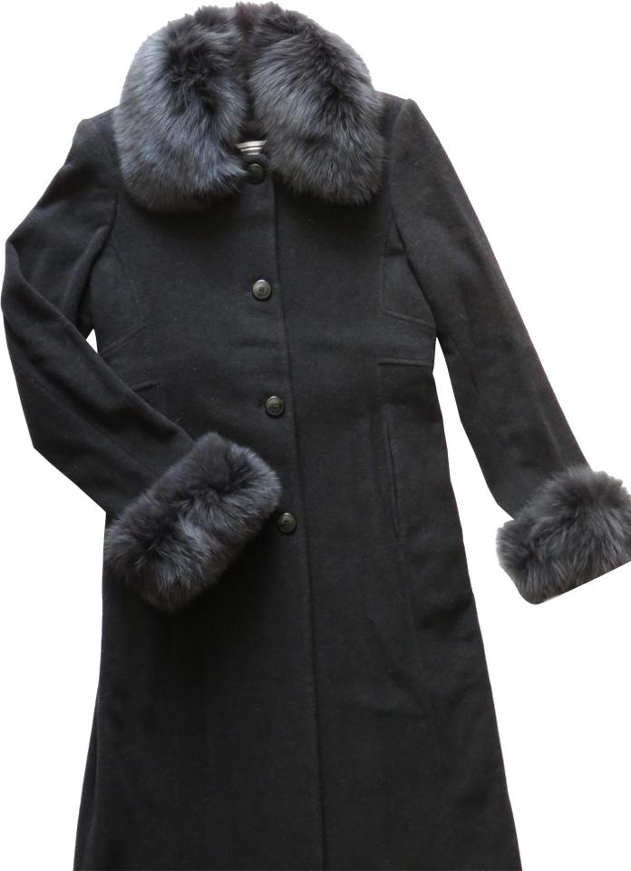 newest collection entire collection quality Marvin Richards Black Women's Winter Blue Fox Cashmere Wool Long ...