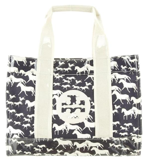 Item - Shopping Neverfull Nautical Horse Equestrian Rider Wild Monogram Navy Blue Ivory White Coated Canvas Pvc Vinyl Tote