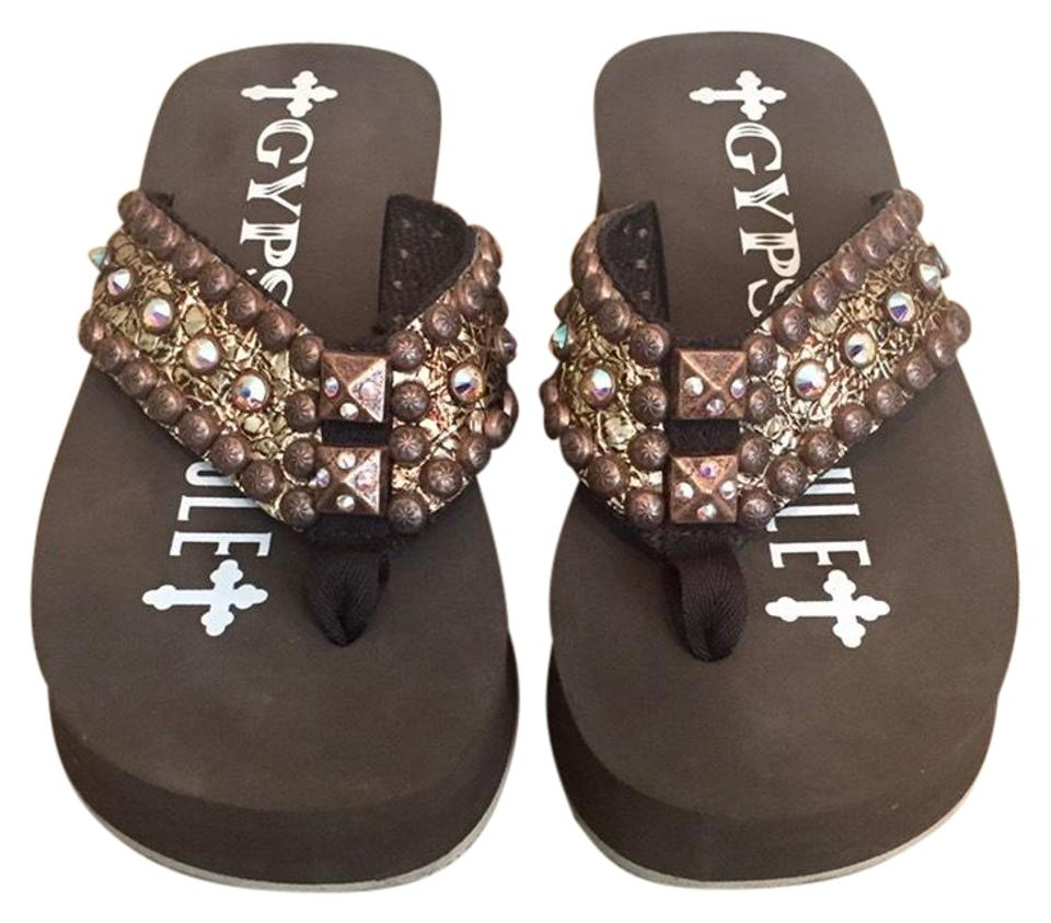 478b02a8b Brown swarovski embellished wedge sandals size us regular jpg 960x843 Gypsy  soule flip flops