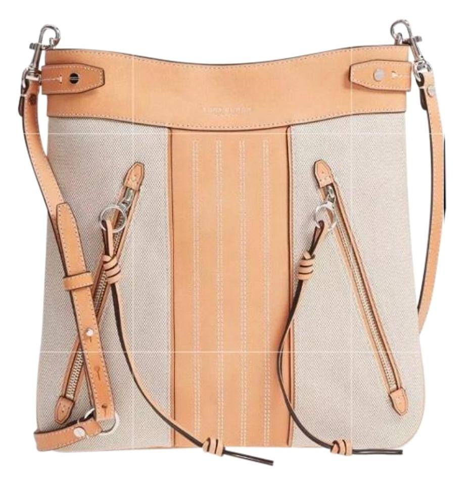 5d09cf52aecd Tory Burch Sale-authentic Moto Canvas Leather Natural Leather  Canvas Cross  Body Bag