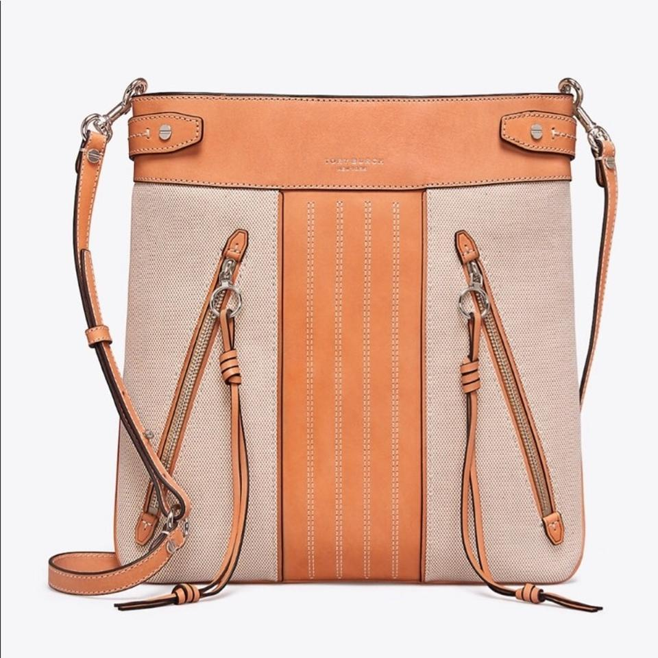 fa132a793a3a Tory Burch Sale-authentic Moto Canvas Leather Natural Leather ...