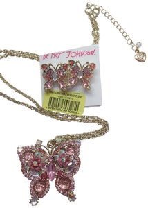 Betsy Betsey Johnson New Pink Butterfly Necklace & Earrings