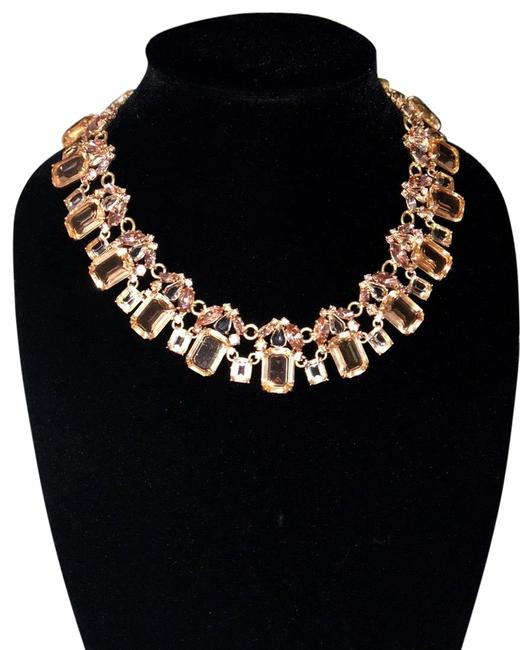 Item - Gold/Pink/Peach Cluster Drop Stone Necklace