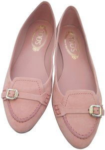 Tod's Suede Leather Comfortable Pink Flats