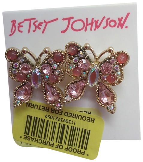 Betsey Johnson Betsey Johnson New Pink Butterfly Earrings Image 0