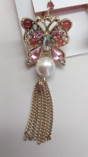 Betsey Johnson Betsey Johnson New Pink Butterfly & Pearl Earrings Image 1