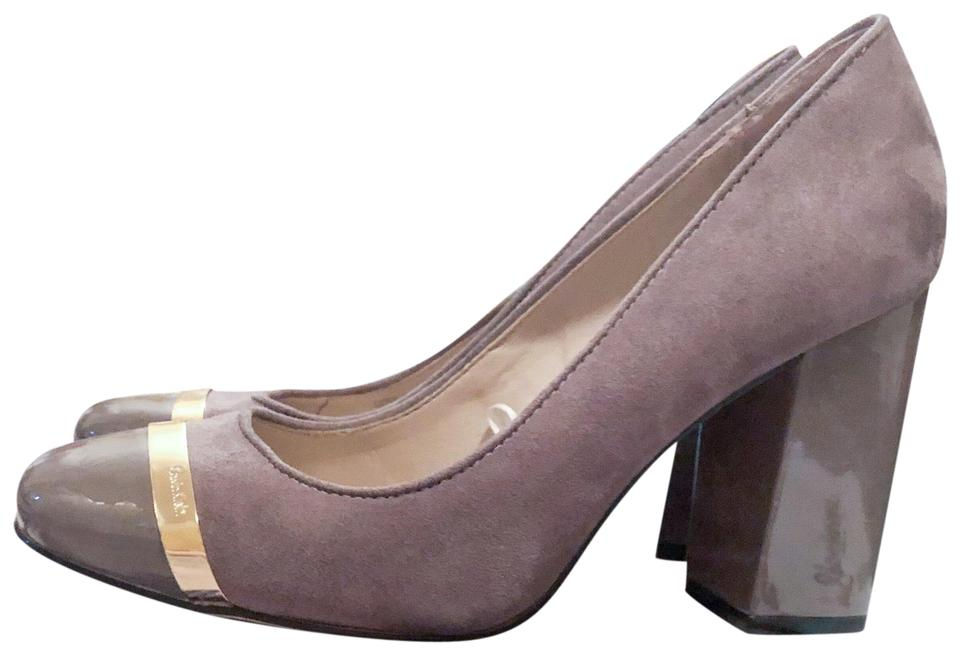 0810a630949 Calvin Klein Taupe Tan Gray Blaine Suede Carlia In with Neutral Block Heel  Pumps Size US 7 Regular (M
