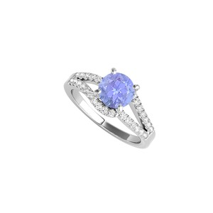 DesignByVeronica Tanzanite and CZ Split Shank Ring in Sterling Silver