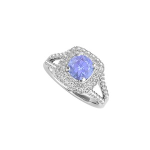 DesignByVeronica Split Shank Sterling Silver Ring with Tanzanite CZ