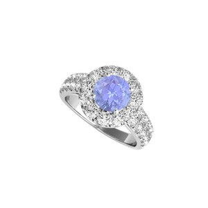 DesignByVeronica CZ Tanzanite Halo Engagement Ring in Sterling Silver