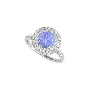 DesignByVeronica Created Tanzanite CZ Halo Engagement Ring in Sterling Silver