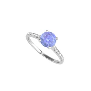 DesignByVeronica Tanzanite CZ Engagement Ring in 925 Sterling Silver