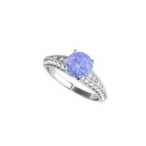 DesignByVeronica Tanzanite and CZ Engagement Ring in Sterling Silver