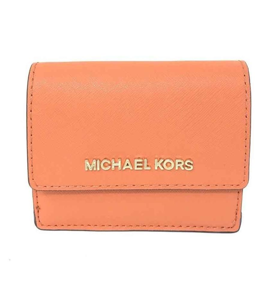 e27ca22b8ec9 Michael Kors Michael Kors Jet Set Leather Tangerine Card Case ID Key Holder  Wallet Image 0 ...