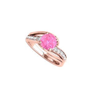 DesignByVeronica Rose Gold Vermeil Pink Sapphire Ring with CZ Rows