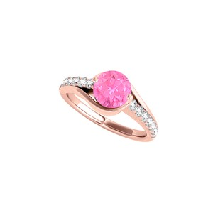 DesignByVeronica Round Shaped Pink Sapphire CZ Ring in Rose Gold Vermeil
