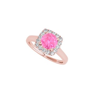 DesignByVeronica Pink Sapphire and CZ Halo Ring in Rose Gold Vermeil