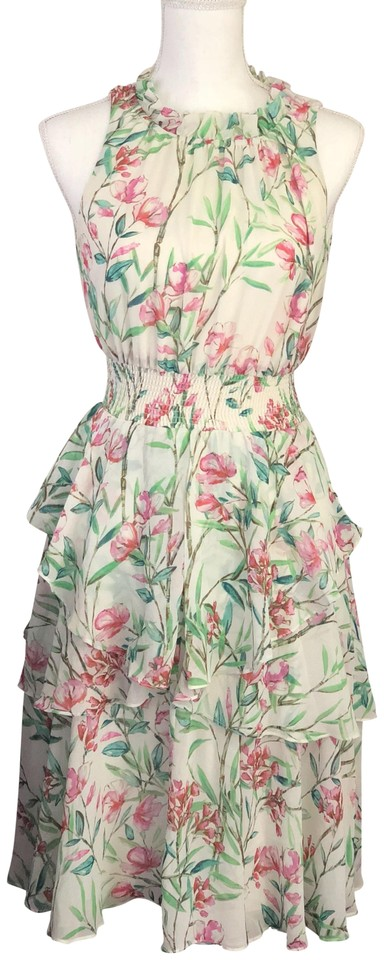53c09c69bcc Eliza J Ivory with Pink and Green Floral Halter Neck Ruffle Chiffon  Cocktail Dress