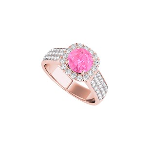 DesignByVeronica Round Pink Sapphire with CZ Rows Ring Rose Gold Vermeil