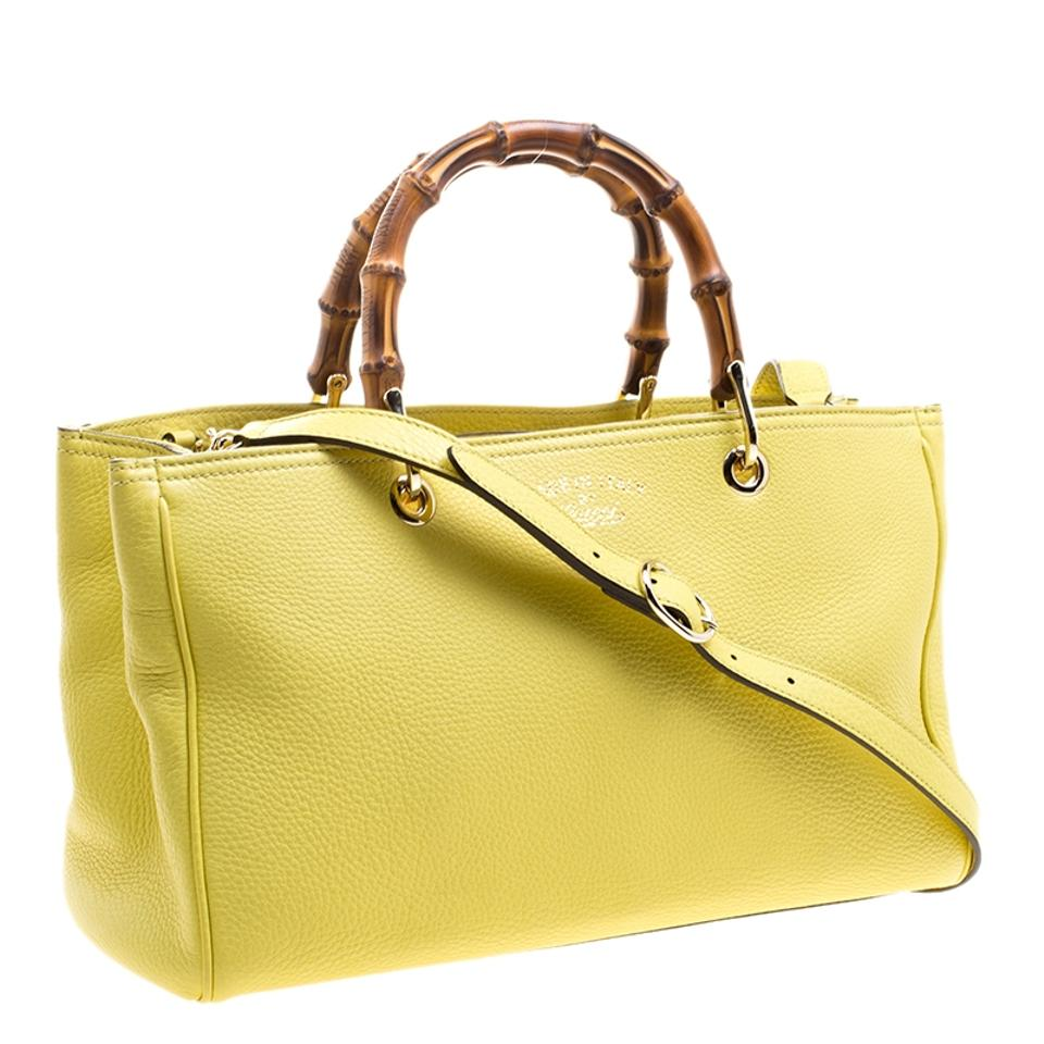 42f34f5dec4 Gucci Bamboo Top Handle Shopper Yellow Leather and Canvas Tote - Tradesy