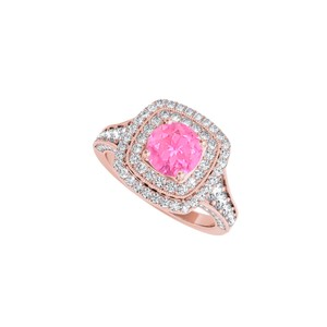 DesignByVeronica Prong Set Pink Sapphire CZ Ring in Rose Gold Vermeil