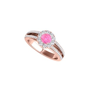 DesignByVeronica Halo Split Shank Design Ring with Pink Sapphire and CZ