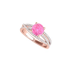 DesignByVeronica Pink Sapphire 14K Rose Gold Vermeil Ring with CZ Rows