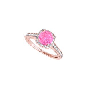 DesignByVeronica September Birthstone Pink Sapphire and CZ Halo Ring