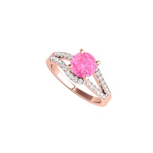 DesignByVeronica Split Shank Design Pink Sapphire and CZ Engagement Ring