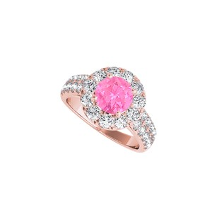 DesignByVeronica Pink Sapphire CZ Halo Ring in 14K Rose Gold Vermeil