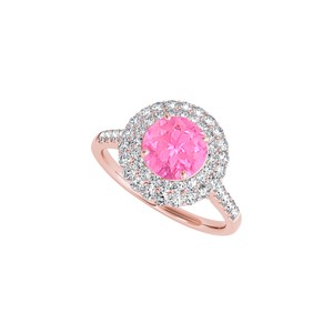 DesignByVeronica September Birthstone Created Pink Sapphire CZ Ring 2.00 CT TGW
