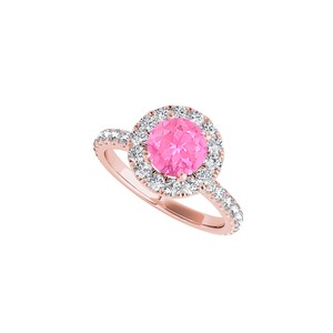 DesignByVeronica Halo Pink Sapphire CZ Ring in 14K Rose Gold Vermeil