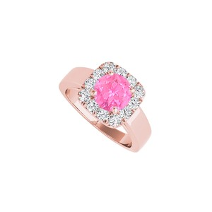 DesignByVeronica Halo Rose Gold Vermeil Ring with Pink Sapphire CZ