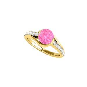 DesignByVeronica Pink Sapphire and CZ Ring in 18K Yellow Gold Vermeil