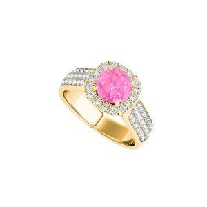 DesignByVeronica Halo CZ Pink Sapphire Ring in 18K Yellow Gold Vermeil