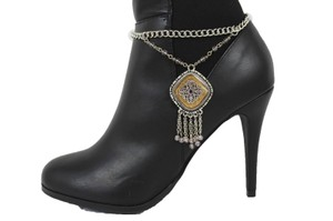 Alwaystyle4you Women Silver Chain Boot Bracelet Anklet Shoe Charm Ethnic Beads Fringe